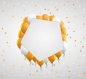Pentagon badge and orange balloons Royalty Free Stock Photos