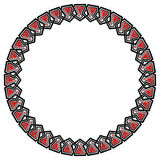 Pentagon chain round ornament. Chain of interlaced pentagon-based elements forming a round frame. Vector black, red and white ornament Stock Photography