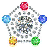 Pentagon composition colored gems set Stock Images