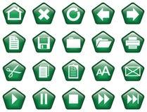 Pentagon ha modellato il verde vetroso dei tasti Immagine Stock