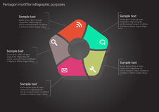Pentagon infographic on black background Royalty Free Stock Photography