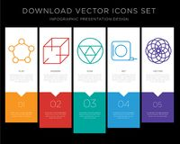 Pentagon infographics design icon vector. 5 vector icons such as Pentagon, 3d cube, Triangle, Measuring tape, Circles for infographic, layout, annual report Royalty Free Stock Images