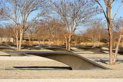 Pentagon Memorial, memorial to 184 people who died as victims in building and on American Airlines Flight 77 during September 11 a. Ttacks. Autumn. Arlington royalty free stock photos