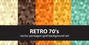 Pentagon-Muster gesetztes Retro- 70 ` s Stockfoto