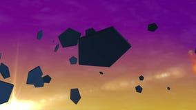 Pentagon-Partikel bei Sonnenuntergang stock footage