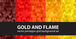 Pentagon pattern set Gold and Flame Stock Photo