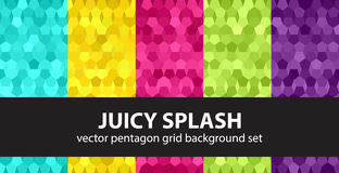 Pentagon pattern set Juicy Splash. Vector seamless geometric backgrounds with cyan, yellow, rose, green, violet pentagons on gradient backdrops Royalty Free Stock Images