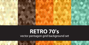 Pentagon pattern set Retro 70`s Stock Photo