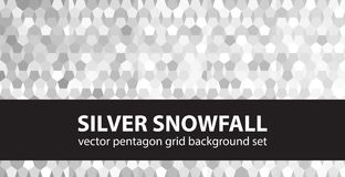 Pentagon pattern set Silver Snowfall. Vector seamless geometric Stock Image