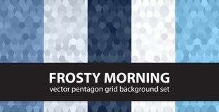 Pentagon wzoru ustalony Mroźny ranek Wektorowy bezszwowy geometryczny b ilustracji