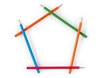Pentagonaal kader van potloden in de vorm van een huis royalty-vrije illustratie