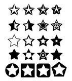 Pentagonal five point star collection icon design elements. Pentagonal five point star collection emblem icon design elements, vector illustration template set royalty free illustration
