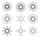 Pentagone étoilé réglé de modèle d'icône d'astrologie géométrique d'étoile Photos libres de droits