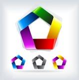 Pentagono astratto del modello di logo di vettore Fotografia Stock