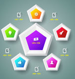 Pentagons with icons. Royalty Free Stock Photo
