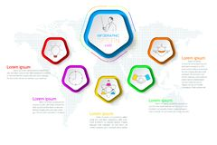 Pentagons label infographic with 6 steps. Pentagons label infographic with 6 steps with vector graphic art royalty free illustration