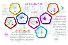 Pentagons label infographic with 6 steps. Pentagons label infographic with 6 steps with vector graphic art stock illustration