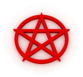 Pentagram. Red 3D pentagram on white plane - mystic occult symbol Stock Photo