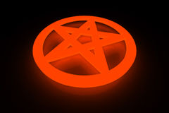 Pentagram. A fiery glowing red pentagram symbol Stock Photography