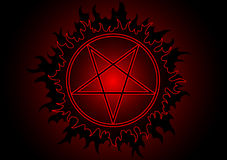 Pentagram. Black and red pentagram in circle with fire. Additional vector format in EPS (v.8 Stock Photos