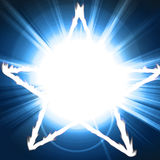 Pentagram. White glowing pentagram on a blue background Royalty Free Stock Images