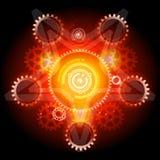Pentagram de Techno que brilla intensamente con los engranajes Imagen de archivo libre de regalías