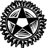 Pentagram del grabar en madera Fotografía de archivo