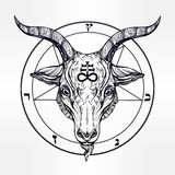 Pentagram with demon Baphomet, Satanic goat head. Pentagram with demon Baphomet. Satanic goat head. Binary satanic symbol. Vector illustration isolated. Tattoo Royalty Free Stock Photography