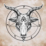Pentagram with demon Baphomet, Satanic goat head. Stock Images