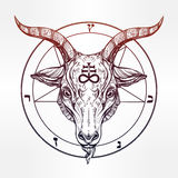 Pentagram with demon Baphomet, Satanic goat head. Royalty Free Stock Images