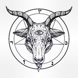 Pentagram with demon Baphomet, Satanic goat head. Pentagram with demon Baphomet. Satanic goat head with third eye. Binary satanic symbol. Vector illustration Royalty Free Stock Photography
