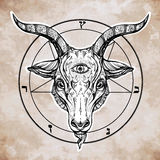 Pentagram with demon Baphomet, Satanic goat head. Stock Photography