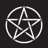 Pentagram eller pentalpha eller pentangle Handen drog forntida hedniska symbolet för prickarbete av denpekade stjärnan isolerade  vektor illustrationer