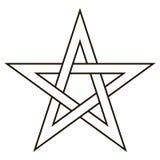 Pentagram fem avslutar stjärnan med vävsidor, styrkor för sektorsymbolmörker royaltyfri illustrationer