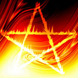 Pentagram on fire. On a red and orange background Stock Photography