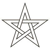 Pentagram five end star with weave sides, sector symbol dark forces Royalty Free Stock Photography