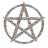Pentagram Hammered Chrome. Pentagram five pointed star with a hammered chrome metallic effect on an isolated white background with a clipping path Royalty Free Stock Photos