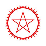 Pentagram icon. Red star. Vector. Pentagram icon. Red five-pointed star in the circle of fire. Vector illustration Stock Photos