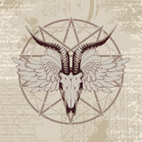 Pentagram with the image of a goat skull vector illustration