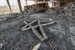 Pentagram. Meeting place of Freemasonry in an abandoned factory royalty free stock photo