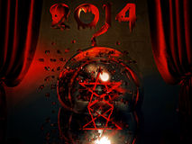 Pentagram and New Year 2014 Royalty Free Stock Photos