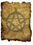Pentagram Parchment. Aged parchment with pentagram background Stock Photo