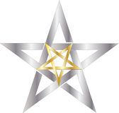Pentagram. Reversed gold pentagram inside silver pentagram Royalty Free Stock Image