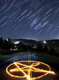 Pentagram and Star Trails Stock Photos