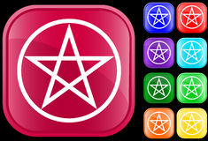 Pentagram symbol. On shiny square buttons Stock Illustration