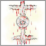 Pentagram. Two blooded crosses and a pentagram Stock Photos