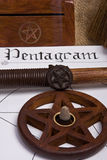 Pentagram - Wicca. Wicca pentagram / pentacle - book of shadows and wand Stock Photos