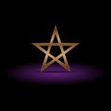 Pentagramma di lusso dell'oro su ombra porpora, illustrazione Fotografie Stock Libere da Diritti