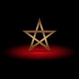 Pentagramma di lusso dell'oro su ombra rossa, illustrazione Illustrazione di Stock