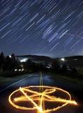 pentagramstjärnatrails Arkivfoton